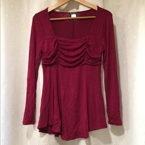 VENUS | Gorgeous Burgundy Blouse Long Sleeve Top